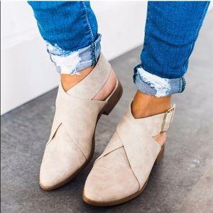 KALEY🖤 tan vegan leather wrap flat bootie